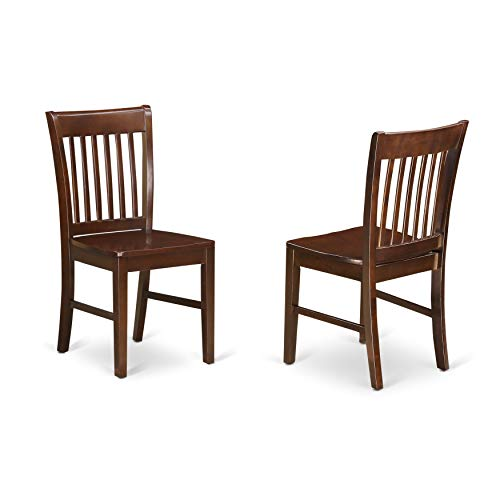 - East West Furniture NFC-MAH-W Kitchen/Dining Chair Set with Wood Seat, Mahogany Finish, Set of 2