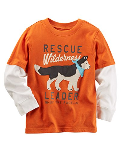 Layered Look Graphic Tee - Carter's Little Boys Long-Sleeve Layered-Look Graphic Tee (8, Orange Rescue)