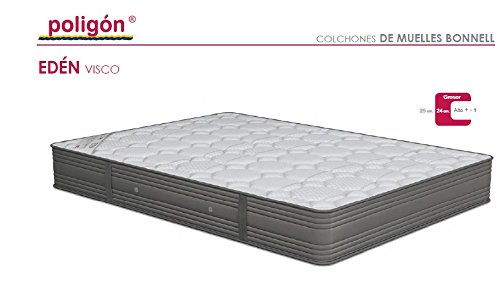 Poligón - Colchón Edén Visco - Muelles Bonell, talla 135x190cm, color blanco / gris: Amazon.es: Hogar