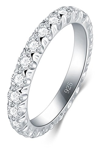 BORUO 925 Sterling Silver Ring, Cubic Zirconia CZ Wedding Band Stackable Ring 3mm Size 5 by BORUO
