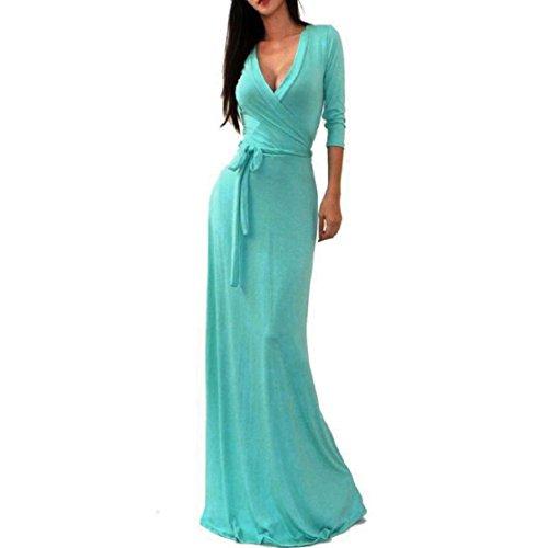Culater Sólido V-cuello de las mujeres 3/4 cintura del abrigo largo vestido de Maxi Azul claro