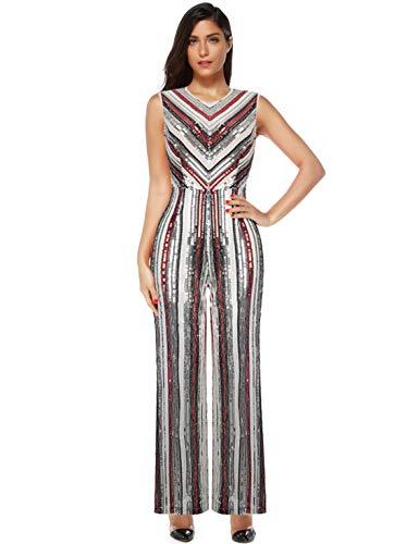 Bell Silver Glitter - Meilun Womens Glitter Sequin High Waisted Bell Bottom Flared Pants (Red+Silver, L)