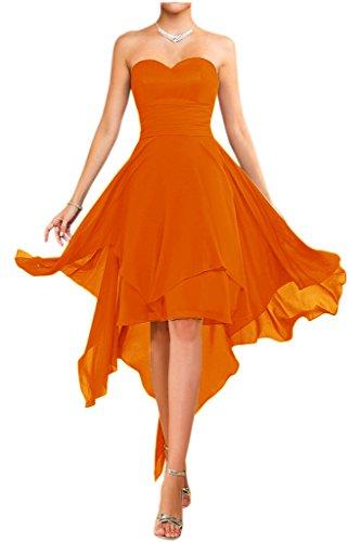 spalline stanotte giovane vestiti moda danza estate vestimento alla colore a vestimento senza Kurz Arancione Chiffon Victory vestimento lungo sposa 6WXIBI