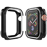 UooMoo Compatible for Apple Watch 4 Case 40mm,Scratch Resistant Shockproof Rugged Bumper Cover Protective Case Replacement with 2018 Apple Watch Series 4 40mm 44mm, Black/White