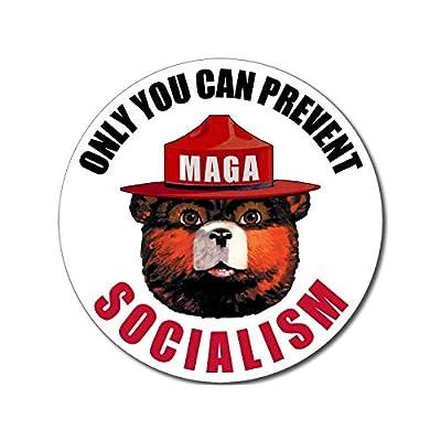 American Vinyl Round Only You Can Prevent Socialism Sticker (Smokey MAGA Trump 2020 no aoc): Automotive