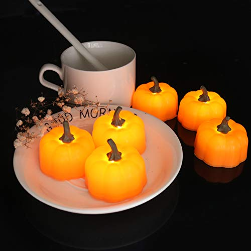 Youngerbaby 12 Pack Pumpkin Tealight Battery Powered Candles Halloween Decorative Wedding Party Flicker Flameless Led Tea Light Candles for Indoor and Outdoor, Patio, Home Kitchen Décor,Orange (Halloween Pumpkin Tealight)