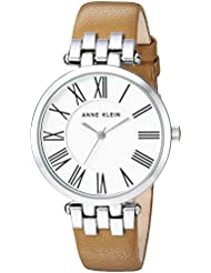 Anne Klein Womens AK/2619SVTN Silver-Tone and Tan Leather Strap Watch