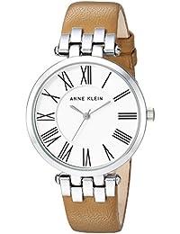 Women's AK/2619SVTN Silver-Tone and Tan Leather Strap Watch