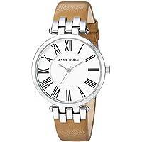 Anne Klein Women's AK/2619SVTN Silver-Tone and Tan Leather Strap Watch
