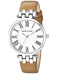 Anne Klein Women's AK/2619SVTN Silver-Tone and Tan Leather Strap Watch