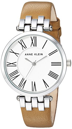 Anne Klein Women's AK/2619SVTN Silver-Tone and Tan Leather Strap Watch Chloe Calfskin Leather