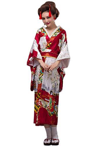 Soojun Women's Traditional Japanese Kimono Style Robe Yukata Costumes, Style3- Wine Red, US 2-10
