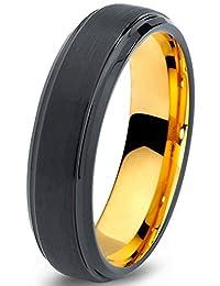 Tungsten Wedding Band Ring 6mm for Men Women Black & 18K Yellow Gold Beveled Brushed Polished Lifetime Guarantee