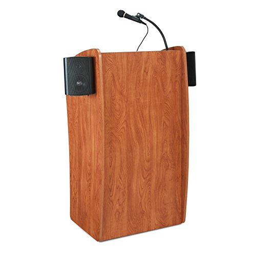 Oklahoma Sound 611S The Vision Basic Lectern Podium with Sound, Cherry, 30 Watts Power Output, Accommodate Audience up to 900, Designed with a Sleek Curved Shape in a Modern Wild - Wild Laminate Cherry