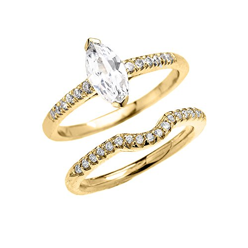 10k Yellow Gold Dainty Diamond Wedding Ring Set With Marquise Cubic Zirconia Center Stone (Size 7.75)