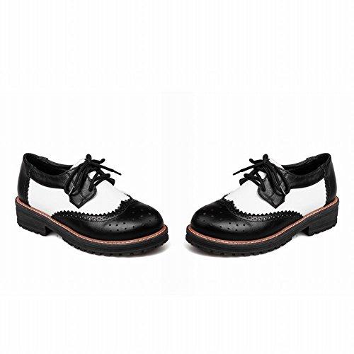 Vrijstaande Dames Retro Retro Comfort Casual Lage Hak Oxfords Schoenen Zwart + Wit