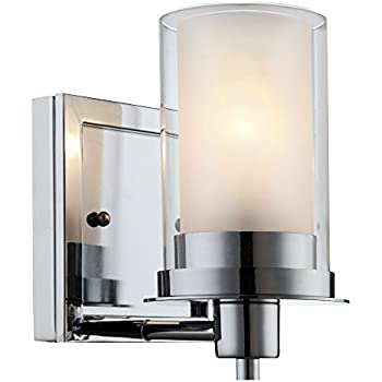 Brio Wall Light Vanity Sconce Brushed Nickel With Frosted Glass - Polished chrome bathroom sconces