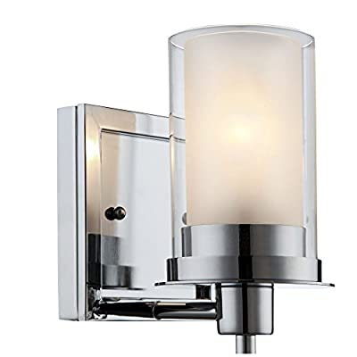 "Designers Impressions Juno Polished Chrome 1 Light Wall Sconce/Bathroom Fixture with Clear and Frosted Glass: 73465 - Finish: Chrome --- Glass: Clear and Frosted Height: 8-1/4"" ---- Width: 5-1/2"" Bulb Requirements (Not Included): (1) One Medium Base 60 Watt - bathroom-lights, bathroom-fixtures-hardware, bathroom - 41xJ8c3EenL. SS400  -"