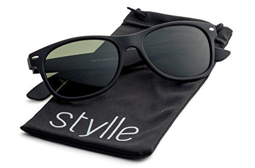 Matte Black Frame Green Lenses - Matte Black Frame/Green Lens Stylle Vintage Wayfarer Sunglasses