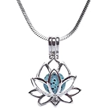 Scoria Lava Rock Stainless Steel Necklace for Aromatherapy - Essential Oil Pendant Diffuser Gift Set - Lotus Locket Style