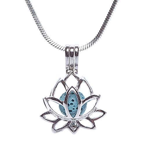 Scoria Lava Rock Stainless Steel Necklace for Aromatherapy - Essential Oil Pendant Diffuser Gift Set - Lotus Locket Style Flower Locket Pendant Jewelry