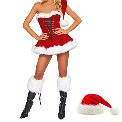 Mrs Claus Sexy Outfit (Sexy Christmas Costumes for Women Mrs Claus Velet Corset Santa Outfit Dress (Red))