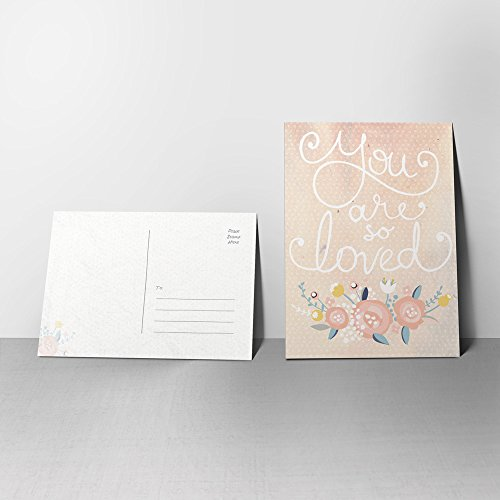 5 You Are So Loved Postcards - Valentine's Day Cards with Vintage-Inspired Design with Flowers
