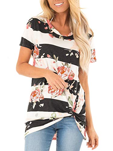 - Juniors Floral Cute Tops Summer Short Sleeve Tee Shirts Twist Knotted Black S