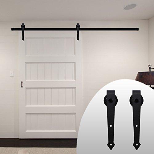 Interior Garage Door (LWZH 9FT Sliding Wood Barn Door Steel Hardware Kit for Single Door Sliding Interior Door Track Set(Black Arrow Shaped Hangers))