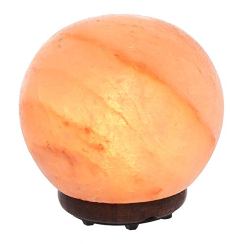 "Simply Genius Himalayan Salt Lamp Lights, Electric 5.5"" Sphere Natural Crystal Salt Lamp Rock With Bulb & Cord, Air Purifier Night Light For Bedrooms, With Dimmer Switch, Large Round Salt Lamp"