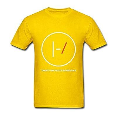 Guwmi Men's Twenty One Pilots Logo T Shirt Yellow L