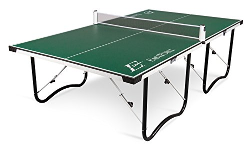 Foldable green ping-pong table isolated on white background.
