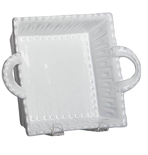 - Abigails Square Ceramic White Serving Bowl with Beaded Rim, Large/10