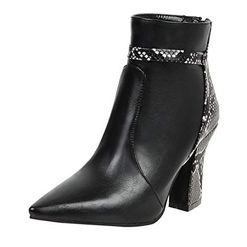 Aunimeifly Women's Pointed Toe Leather Shoes Zip Thick High Heel Shoes Snake Stitching Ladies Stylish Ankle Boots(US:10,Black)