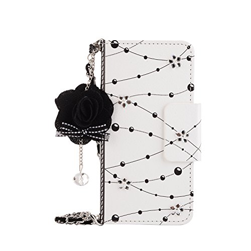 Gostyle Samsung Galaxy S7 Edge Leather Wallet Case,Fashionable Women Handbag Case with Chian,Luxury Crystal Flower Pattern PU Flip Magnetic Case with Credit Card Holder and Wristlet Strap.