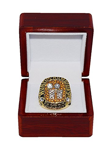 LOS ANGELES LAKERS (Shaquille Oneal) 2001 NBA FINALS WORLD CHAMPIONS (Back 2 Back Champs) Rare & Collectible Replica NBA Gold Championship Ring with Cherrywood Display Box