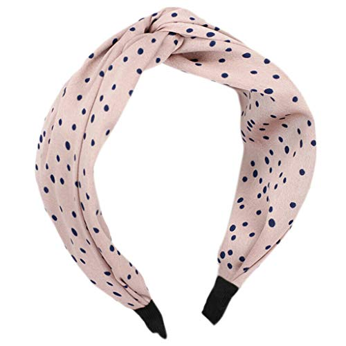 Women Girl Sweet Fabric Bowknot Wide Hairband Headband Hair Twist Accessories (Color - Beige)]()