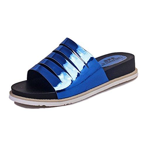 PENGFEI Chanclas de playa para mujer Zapatillas femeninas Moda sandalias inferiores gruesas del talón de la parte inferior gruesa antideslizante hueco del verano de la personalidad Cómodo y transpirab Azul
