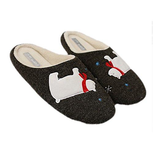 Miyang Winter Ijsbeer Slippers Voor Dames Huis Winter Indoor Schoenen Rubberen Zool-donkergrijs
