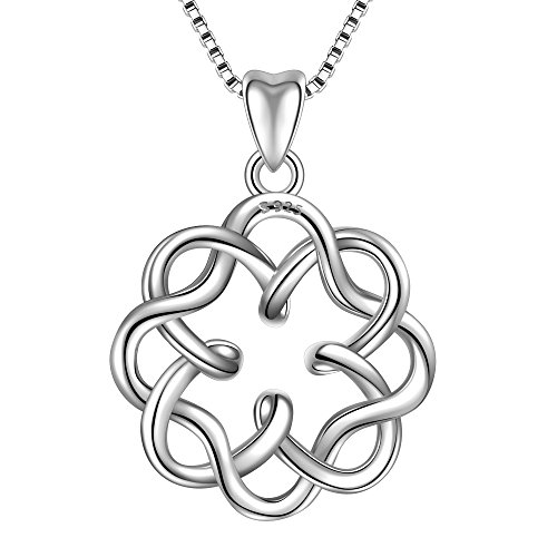 Angemiel 925 Sterling Silver Irish Infinity Endless Love Celtic Knot Vintage Pendant Necklace, Box Chain 18