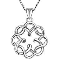 925 Sterling Silver Irish Infinity Endless Love Celtic Knot Vintage Pendant Necklace, Box Chain 18
