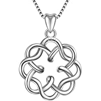 Angemiel 925 Sterling Silver Irish Infinity Endless Love Celtic Knot Vintage Pendant Necklace, Box Chain 18""