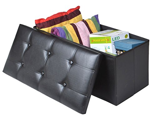 Black Faux Leather Storage Foot Rest Sofa Ottoman Bench Folding Footrest Stool