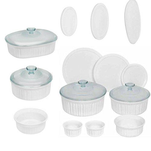 (Corningware French 18-Piece Round and Oval Bakeware Set, White)