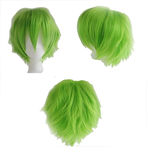 [S-noilite Cosplay Curly Hair Tail Full wigs Short Green Wig Unisex Wig USPS Post] (Short Green Wig)