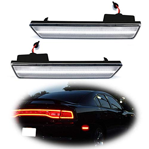 iJDMTOY Smoked Lens Red Full LED Rear Side Marker Light Kit For 2008-14 Dodge Challenger, 2011-14 Charger, Powered by 36-SMD LED, Replace OEM Back Sidemarker Lamps ()