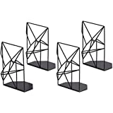 SRIWATANA RooLee Book Ends Black, Decorative Metal Bookends for Shelves, Unique Geometric Design, Non-Scratching(2 Pairs)