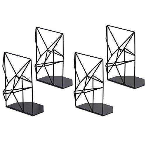 SRIWATANA Book Ends Black, Decorative Metal Bookends for Shelves, Unique Geometric Design, Non-Scratching(2 Pairs)