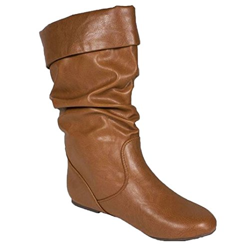Cuffed Images Pu Slouchy S Soda Cognac Flat Calf Mid Boots twqvtA
