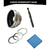 Canon Powershot SD780 IS 2.0x Telephoto (Magnetic Lens) + DIGI Micro-Fiber Cleaning Cloth + Pro Lens Cleaning Pen.